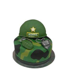 Зеленый торт на 23 февраля с каской и гранатой