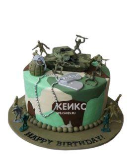 Пятнистый торт на 23 февраля с солдатиками