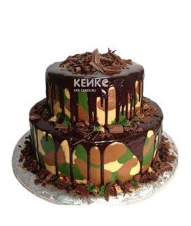 Пятнистый торт с шоколадной глазурью на 23 февраля