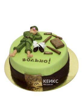 Зеленый торт на дембель с ремнем
