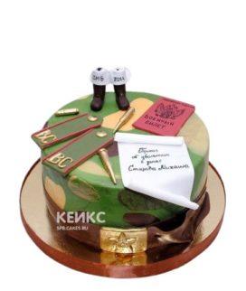 Пятнистый торт на дембель с погонами и военником