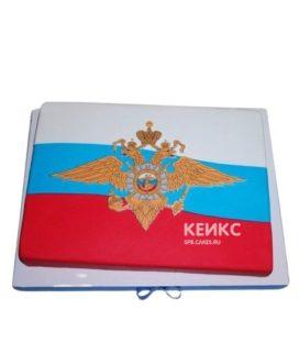 Торт на день России в виде флага с гербом