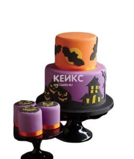 Оранжево-фиолетовый торт с тыквами и летучими мышами на Хэллоуин