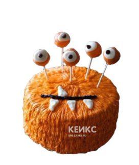 Забавный торт на Хэллоуин оранжевый монстр