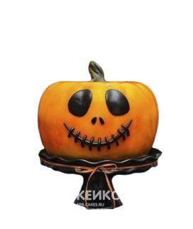 Оранжевый торт на Хэллоуин в виде тыквы