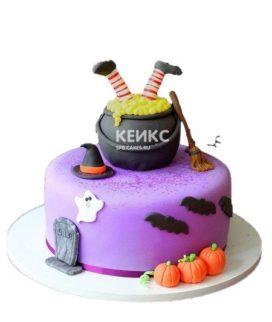 Торт с казаном ведьмы на хэллоуин