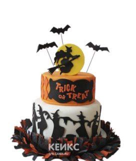 Торт на хэллоуин с ведьмой на метле