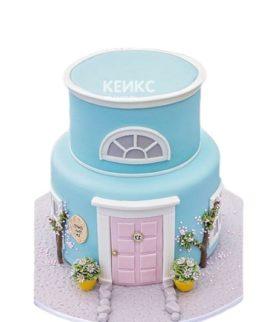 Голубой двухъярусный торт на новоселье в виде дома