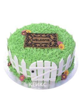Торт на новоселье с ковриком и забором