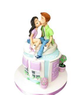 Торт на новоселье с фигурками семьи