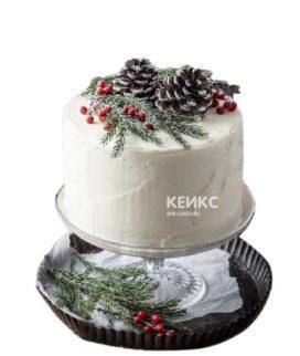 Торт на новый год с ветками и шишками