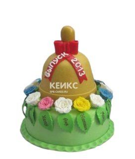 Торт на Последний звонок в форме колокольчика с разноцветными цветами