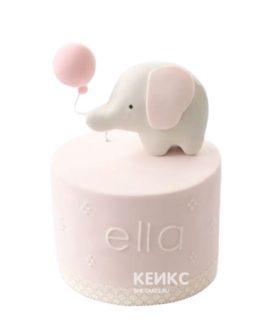 Розовый торт на день рождение девочке со слоником и шариком