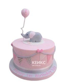 Розовый торт на день рождение девочке со слоником