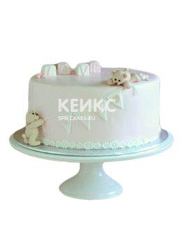 Белый торт на день рождение девочке с мишками