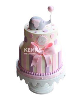 Торт на рождение девочки слоник с шариком