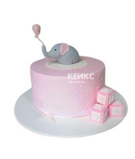 Торт на рождение девочки розовый со слоником