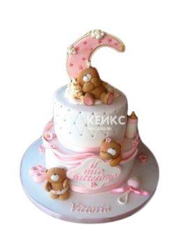 Торт на рождение девочки с мишками