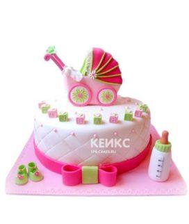 Торт на рождение девочки с коляской и бутылочкой