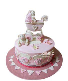 Торт в розовых тонах с коляской на рождение девочки