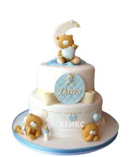 Торт с мишками и надписью на рождение мальчика
