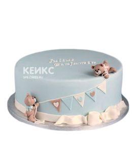 Голубой торт мальчику на рождение с медвежатами и флажками