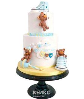 Милый торт мальчику на рождение с медвежатами и кедами