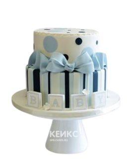 Торт с голубым бантиком на рождение мальчика