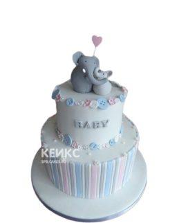 Торт на выписку слоник с шариком