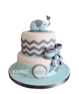 Двухъярусный торт на выписку с зигзагами и слоненком