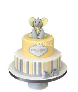 Полосатый желтый торт на выписку со слоненком