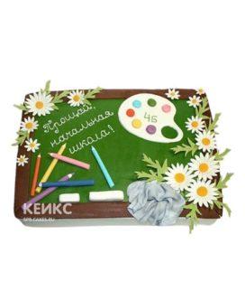 Торт на выпускной 4 клас Зеленая доска и ромашки