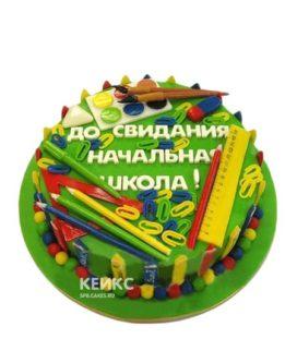 Торт на выпускной 4 класс зеленый с надписью
