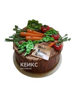 Торт огород с овощами из мастики