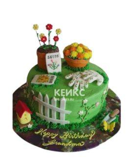 Торт огород с цветочными горшками