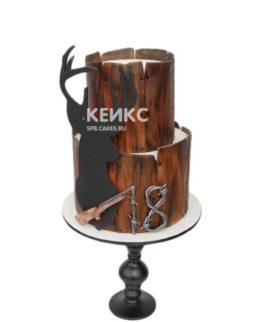 Торт охотнику с силуэтом оленя