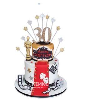 Торт в стиле Оскар с красной дорожкой и звездами