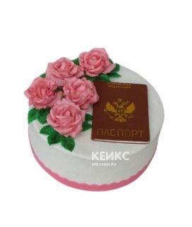 Белый торт Паспорт с розами