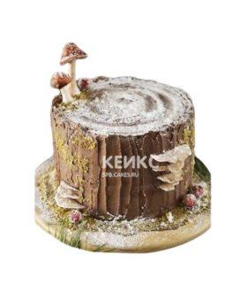 Торт в виде пня с грибами