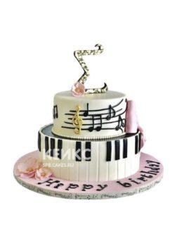 Торт пианино с нотами