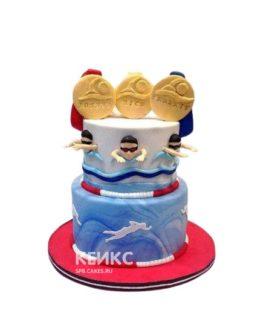 Торт плавание с тремя медалями
