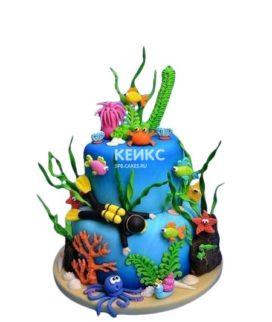Торт Плавание с аквалангистом и морскими жителями