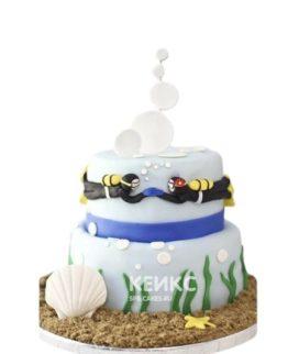 Торт плавание с двумя водолазами