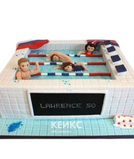 Торт плавание бассейн с плавцами