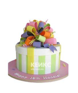 Торт подарок в виде коробки с разноцветным бантом
