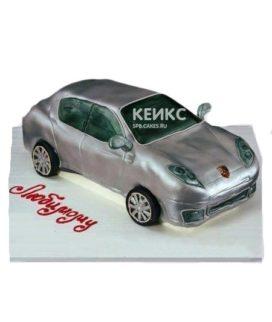 Торт в виде серебристой машины Порше