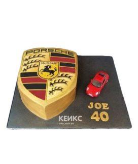 Торт красный Порше с эмблемой