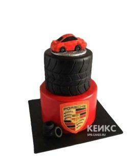 Красно-черный торт с машиной Порше и эмблемой