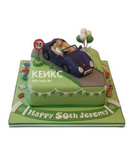 Торт в виде дороги с машиной Порше и водителем