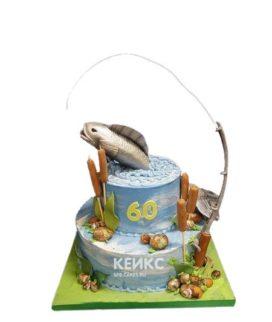 Торт рыбаку с удочкой и рыбой
